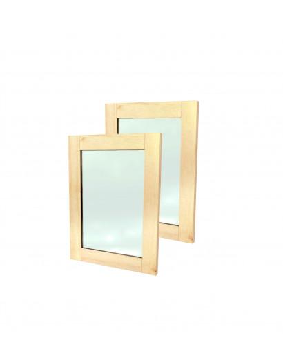 2 portes cadre en bois massif et panneau vitré 100 cm